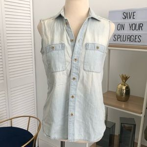 Madewell Tops - Madewell Denim Sleeveless Shirt